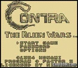 Contra - The Alien Wars ROM Download for Gameboy Color / GBC